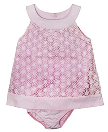 FS Mini Klub Sleeveless Party Dress With Attached Bloomer Lace Pattern - Pink
