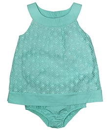 FS Mini Klub Sleeveless Party Dress With Attached Bloomer Lace Pattern - Green