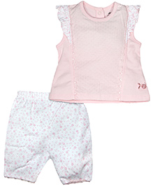 FS Mini Klub Short Sleeves Top And Bottom  Floral Print - Pink And White