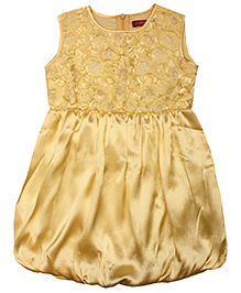 Campana Sleeveless Satin Flower Balloon Dress - Cream