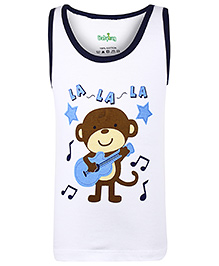 Babyhug Sleeveless Vest Monkey Print - White