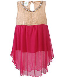 Babyhug Sleeveless Party Wear Frock Stone Studded Necklace Detail - Pink Cream