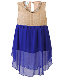 Babyhug Sleeveless Party Wear Frock Stone Studded Necklace Detail - Royal Blue Cream