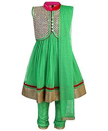Babyhug Sleeveless Kurta With Jacket Churidar And Dupatta - Green