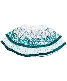 Babyhug Layered Cotton Skirt Multi Print Bow Applique - Green White