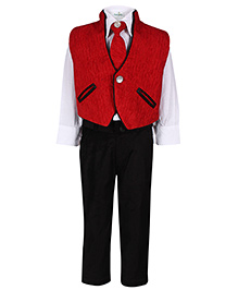 Babyhug 4 Piece Party Suit - Red And White