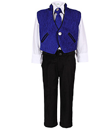 Babyhug 4 Piece Party Suit - Blue And White