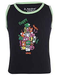 Tantra Sleeveless Vest Monster Print - Black