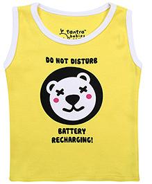 Tantra Sleeveless Vest Do Not Disturb Print - Yellow