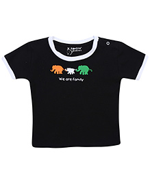 Tantra Half Sleeves T-Shirt We Are Family Print - Black