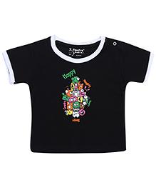Tantra Half Sleeves T-Shirt Print Multi Print - Black