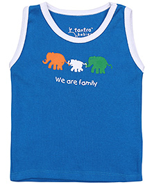 Tantra Sleeveless Vest We Are Family Print - Blue