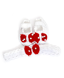 White & Red Booties With Headband