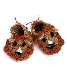 The Original Knit Brown Handmade Baby Booties