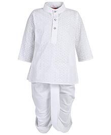 Ethnik's Neu Ron Kurta And Stitched Dhoti Suit - White