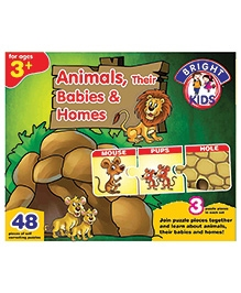 Bright Kids Animals Their Babies And Homes Puzzle Brown And Green - 48 Pieces