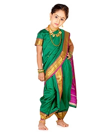 Bhartiya Paridhan Maharshtrian Nauwari Ready To Wear Saree Set -  Green