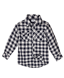 Huggs N Kisses Full Sleeves Checks Shirt - Grey