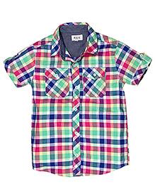 Huggs N Kisses Half Sleeves Checks Shirt - Multicolour