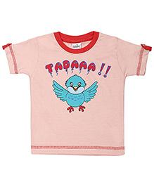 Babyhug Short Sleeves Top Bird Print - Coral Peach