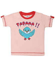 Babyhug Short Sleeves Top Bird Print - Coral Peach