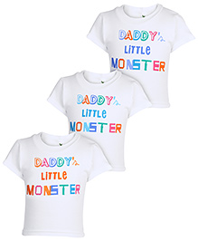 Cucumber Half Sleeves T-Shirt Little Monster Print Set Of 3 - White