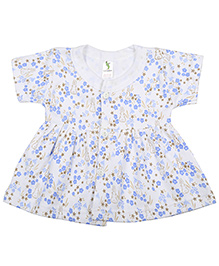 Cucumber Short Sleeves Front Open Floral And Rabbit Print Frock - White Blue