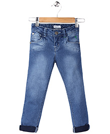 Palm Tree Full Length Jeans - Light Blue