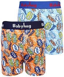 Babyhug Boxer Shorts Multi Print Set Of 2 - Blue Orange