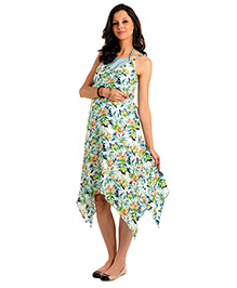 House Of Napius Radiation Safe Maternity Printed Maxi Tank Dress Asymmetrical Cut - Blue