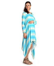 House Of Napius Full Sleeves Maternity Long Dress - Hawaiian Ocean