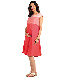 House Of Napius Radiation Safe Maternity A Line Knee Length Flowing Dress - Salmon Rose