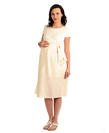 House Of Napius Radiation Safe Maternity A Line Knee Length Soft Flowing Dress - Beige