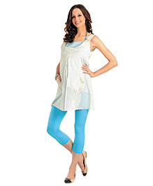 House Of Napius Radiation Safe Printed Sleeveless Maternity Tunic With Button Pockets -  Beige