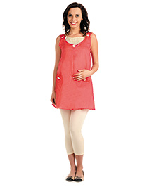 House Of Napius Sleeveless Maternity Tunic With Button Pockets - Red And White