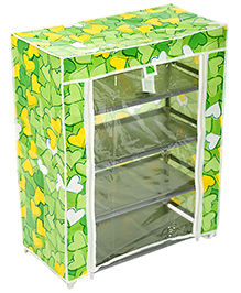 Four Shelves Storage Rack With Clear Front Cover - Green