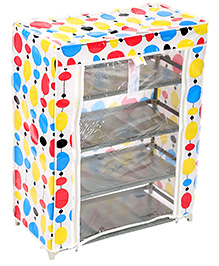 Four Shelves Storage Rack With Clear Front Cover - Multicolour
