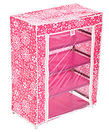 Four Shelves Storage Rack With Clear Front Cover - Pink