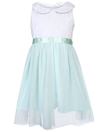 Babyhug Sleeveless Net Party Frock - White And Mint Green