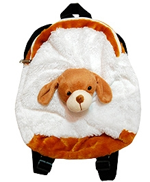 Surbhi Plush Toy Bag With Dog White And Brown - 13 Inches