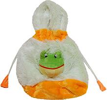Surbhi Plush Hand Bag Frog Motif - White And Orange