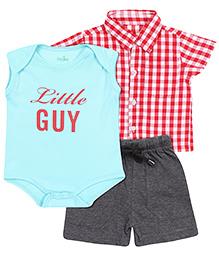 Babyhug Half Sleeves Shirt And Shorts With Onesie - Sea Green Red Grey