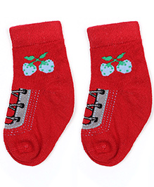 Cute Walk Ankle Length Socks Stripes Design - Grey And Red