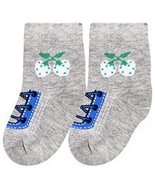 Cute Walk Ankle Length Socks Stripes Design - Grey And Fuchsia