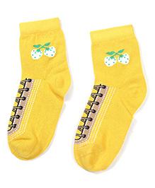 Cute Walk Ankle Length Socks Stripes Design - Grey And Orange