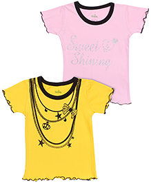 Babyhug Half Sleeves T-Shirt Printed Set of 2 - Yellow And Pink