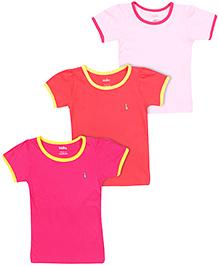 Babyhug Short Sleeves T-Shirts Pack Of 3 -  Light Pink Red Fuchsia