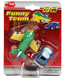 Dickie Funny Team Car And Aeroplane - Assorted Color