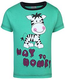 Babyhug Half Sleeves Round Neck T-Shirt Printed - Green