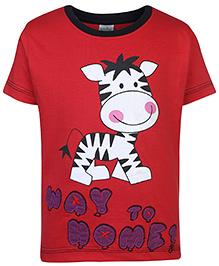 Babyhug Half Sleeves Round Neck T-Shirt Printed - Red
